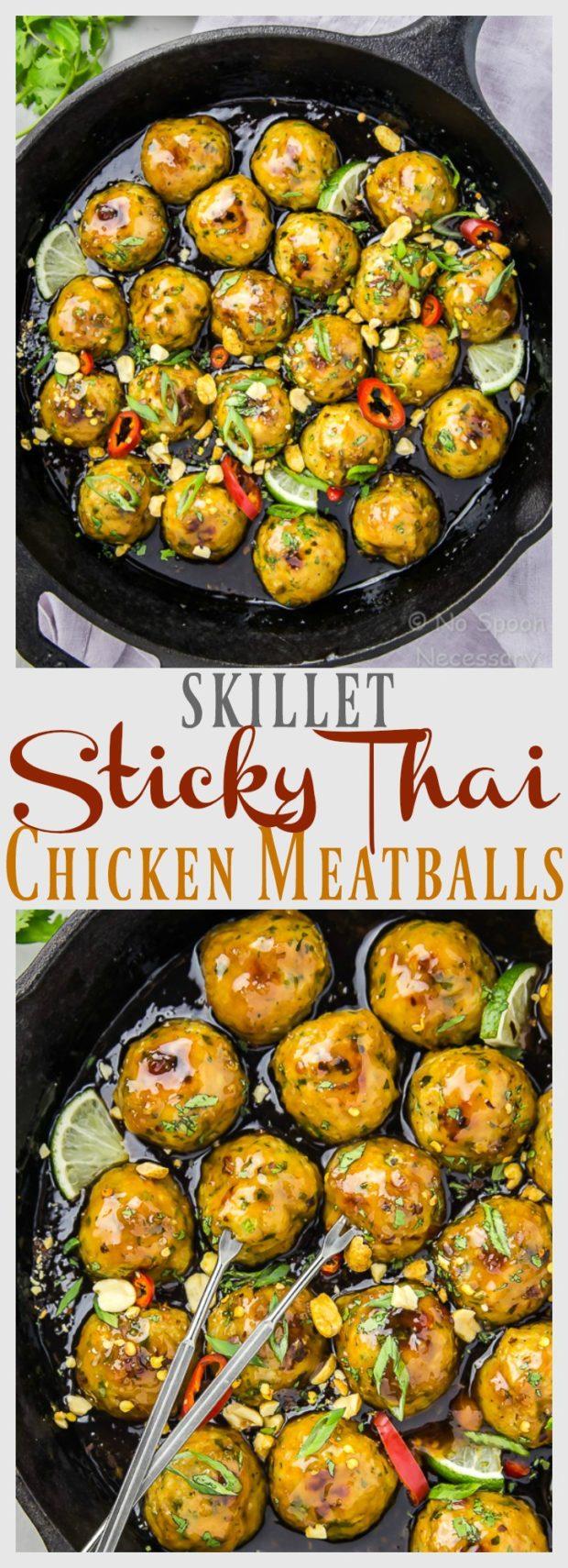 Baked Sticky Thai Chicken Meatballs