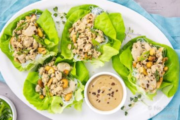 Cashew Chicken Lettuce Wraps with Tahini Sauce