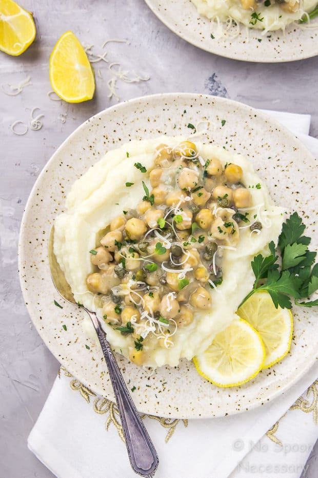 Chickpea Piccata with Cauliflower Mash Puree