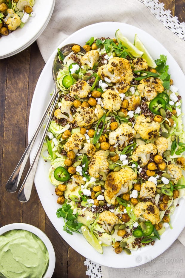 Mexican Roasted Cauliflower & Chickpea Salad with Shredded Brussels Sprouts and Creamy Avocado Dressing