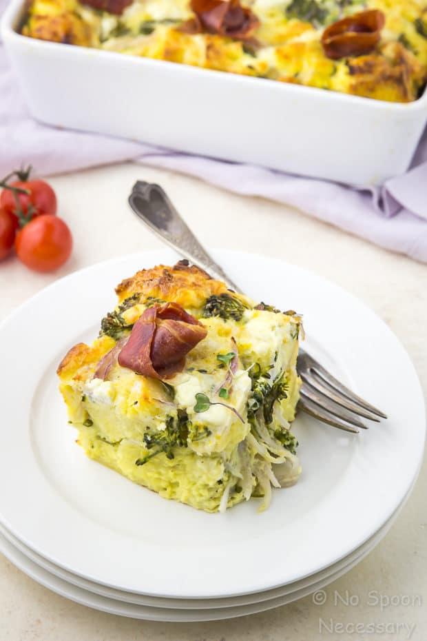 Overnight Broccolini & Goat Cheese Strata with Crispy Prosciutto