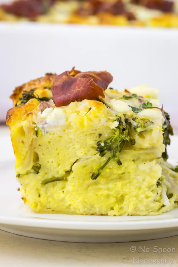 Overnight Broccolini & Goat Cheese Strata with Crispy Prosciutto