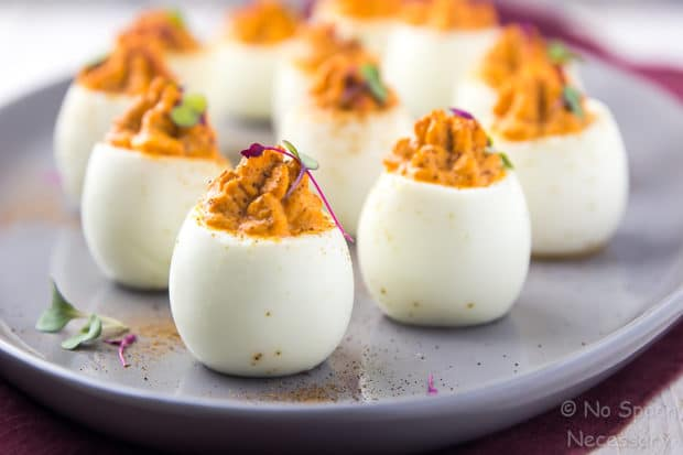 Red Goddess Deviled Eggs No Spoon Necessary