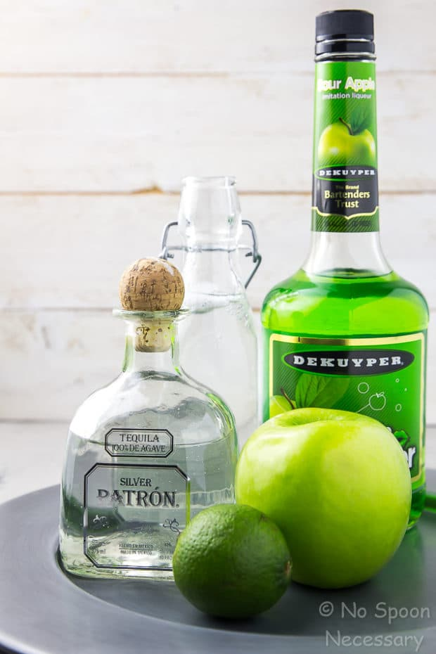 Tequila Sour Apple Cocktail - The Lucky Shamrock for St Patrick's Day