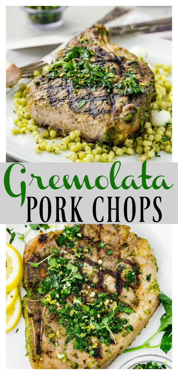 Garlic & Herb Pork Chops with Gremolata |  Ready, from prep to finish, in 30 minutes or less! Infused with pungent garlic and fresh herbs, and topped with easy, herbaceous gremolata, these chops are fast to prepare, but packed full of flavor!  #easy #grilled #pork #chops #garlic #herb #gremolata #recipe