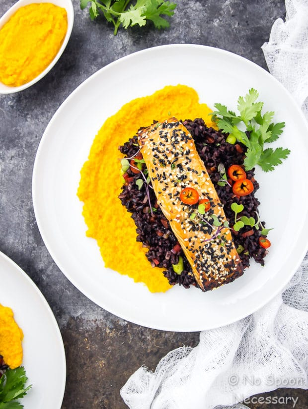 Honey Sesame Salmon with Asian Black Rice Salad & Carrot-Ginger Sauce