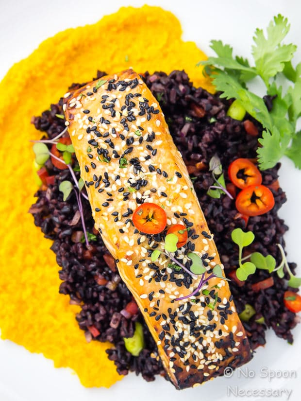 Overhead, up close shot of Honey Sesame Salmon & Asian Black Rice Salad with carrot-ginger sauce on a white plate garnished with fresh cilantro.