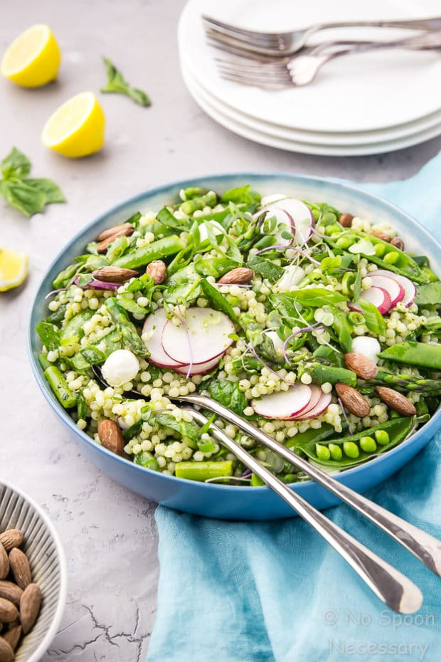 Glowing Green Spring Couscous Salad with Lemon Basil Pesto