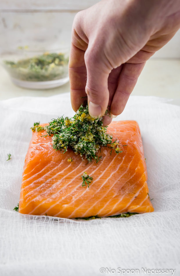 Straight on shot of a hand piling dry cure on top of a filet of salmon - the last part of step 4 how to make gravlax, or cured salmon.