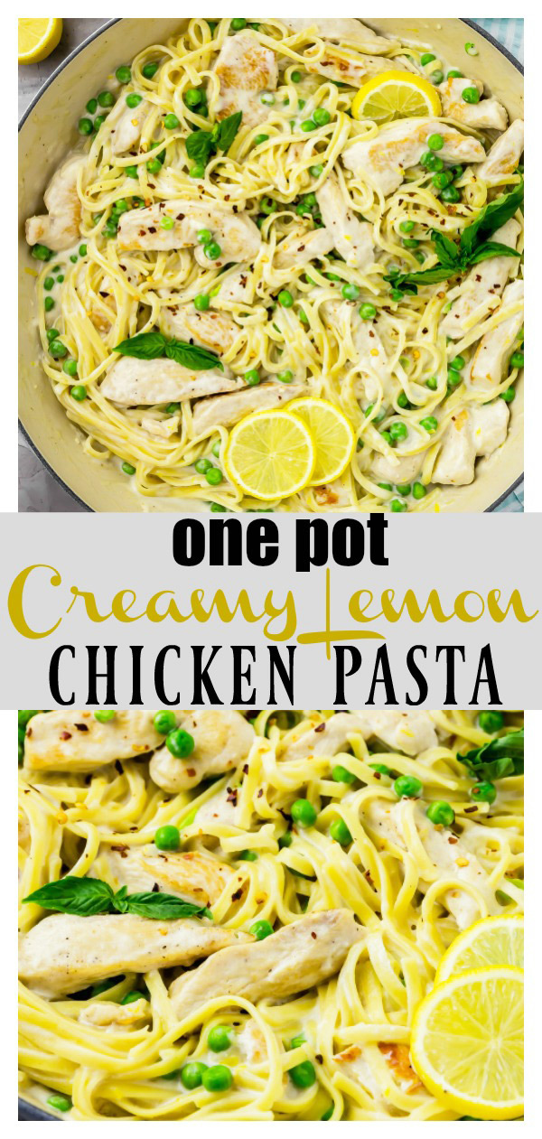 One Pot Creamy Lemon Chicken Pasta with Basil & Peas + Recipe Video | It's easy, made in just ONE pot and ready from prep to finish in 30 minutes or less! Plus it's loaded with chicken, basil and peas! Perfect for busy weeknight dinners!  #onepot #onepan #creamy #lemon #chicken #pasta #basil #peas #easy #quick #recipe