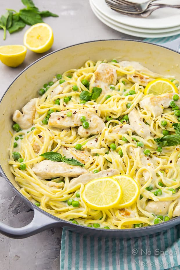 One Pot Creamy Lemon Chicken Pasta with Basil & Peas - No ...