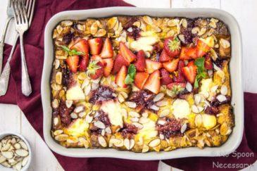 Overnight Strawberry & Ricotta Breakfast Strata