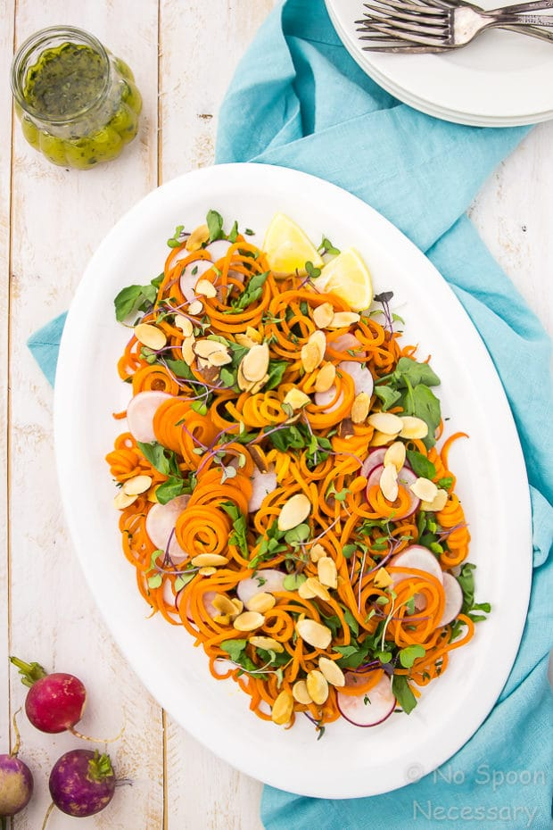 Spring Roasted Carrot Noodle Salad with Radishes, Watercress & Thyme Vinaigrette