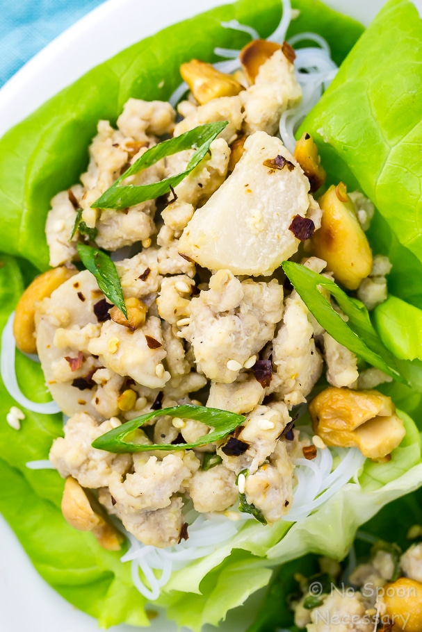 Extreme close up shot of an easy cashew chicken lettuce wrap