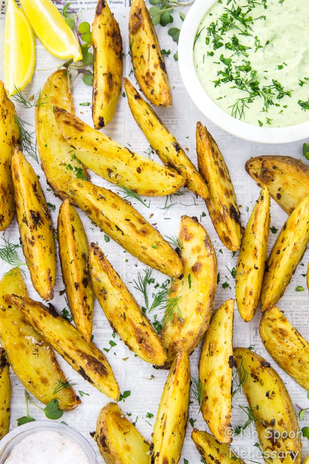Crispy Baked Greek Potato Wedges with Whipped Herbed Feta