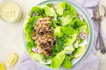 Grilled Honey Chicken & Pea Salad {with Creamy Mustard Vinaigrette}
