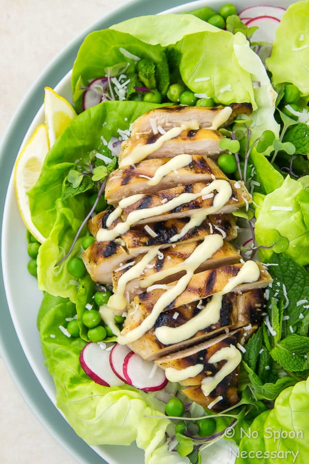 Overhead, upclose shot of a plate of Grilled Honey Chicken & Pea Salad drizzled with creamy mustard vinaigrette.