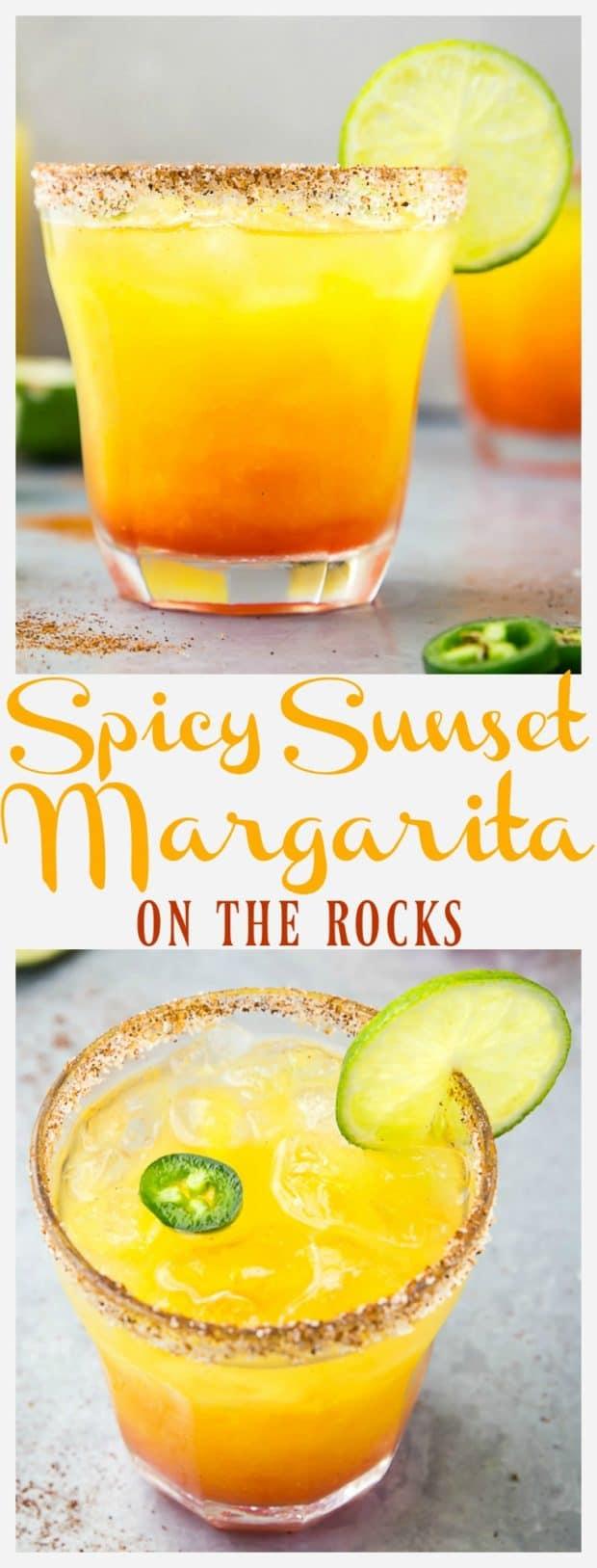 Spicy Sunset Margarita On The Rocks