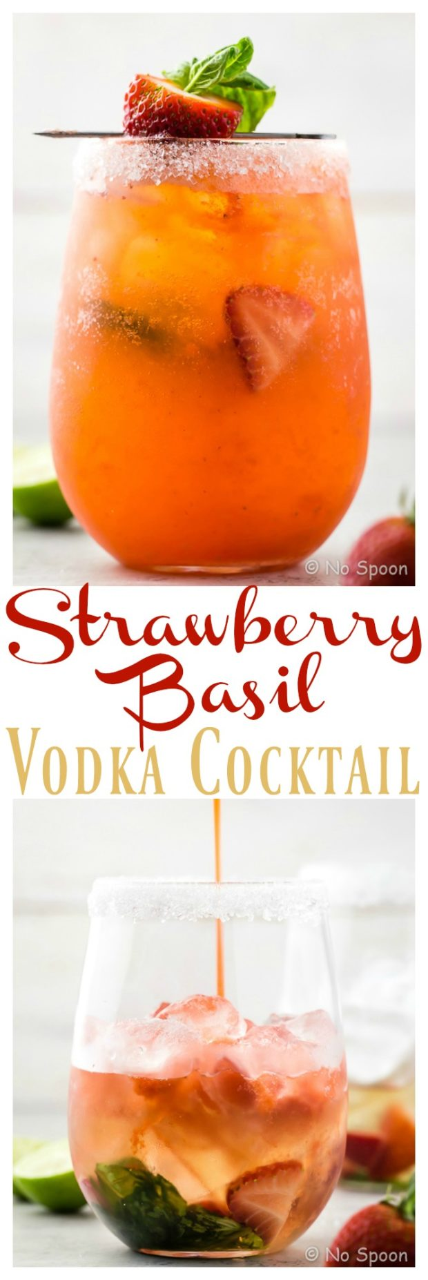 Strawberry Basil Vodka Cocktail | The perfect smooth sip for summer! A refreshing mix of fresh strawberries, herbaceous basil, crisp 7UP and subtle vodka, this libation is ideal for relaxing or entertaining! #summer #strawberry #basil #vodka #cocktail #recipe