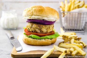 Chicken Caesar Burgers with Parmesan Peppercorn Sauce