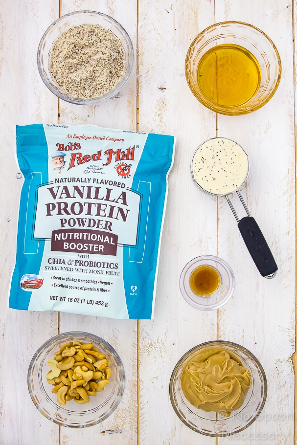Overhead shot of the ingredients to make Honey Nut Vanilla Protein Energy Bites