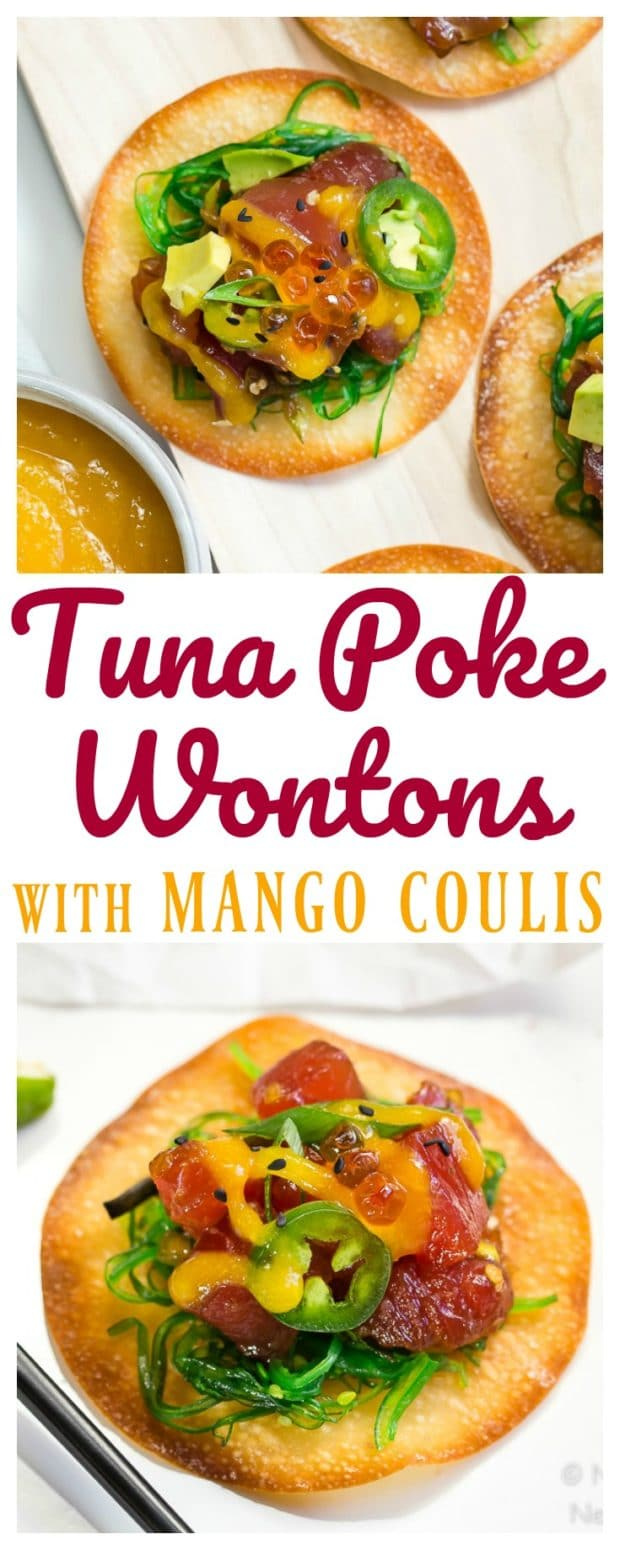 Easy Tuna Poke Wontons with Mango Sauce