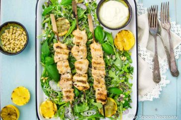 Grilled Honey Lemon Chicken Skewers with Arugula & Basil Salad