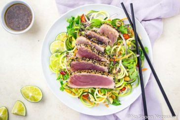 Spicy Sesame Crusted Seared Tuna with Thai Zucchini Salad