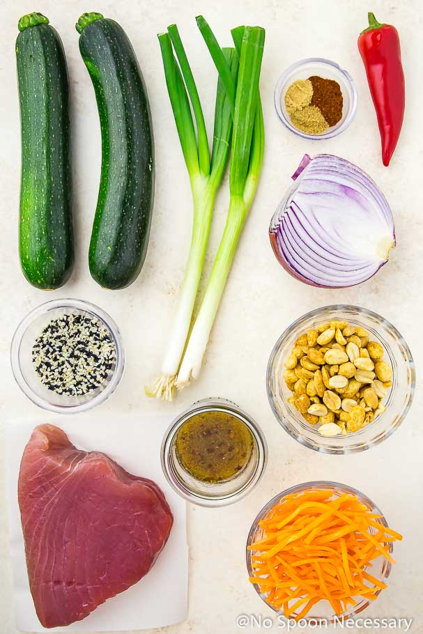 Overhead shot of ingredients to make Spicy Sesame Crusted Tuna and Thai Zucchini Salad
