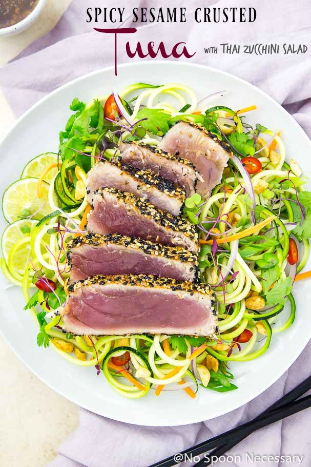 Easy Spicy Sesame Crusted Tuna with Thai Zucchini Salad