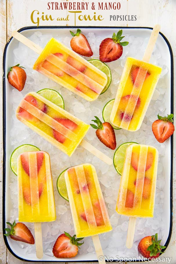 Strawberry & Mango Gin and Tonic Popsicles
