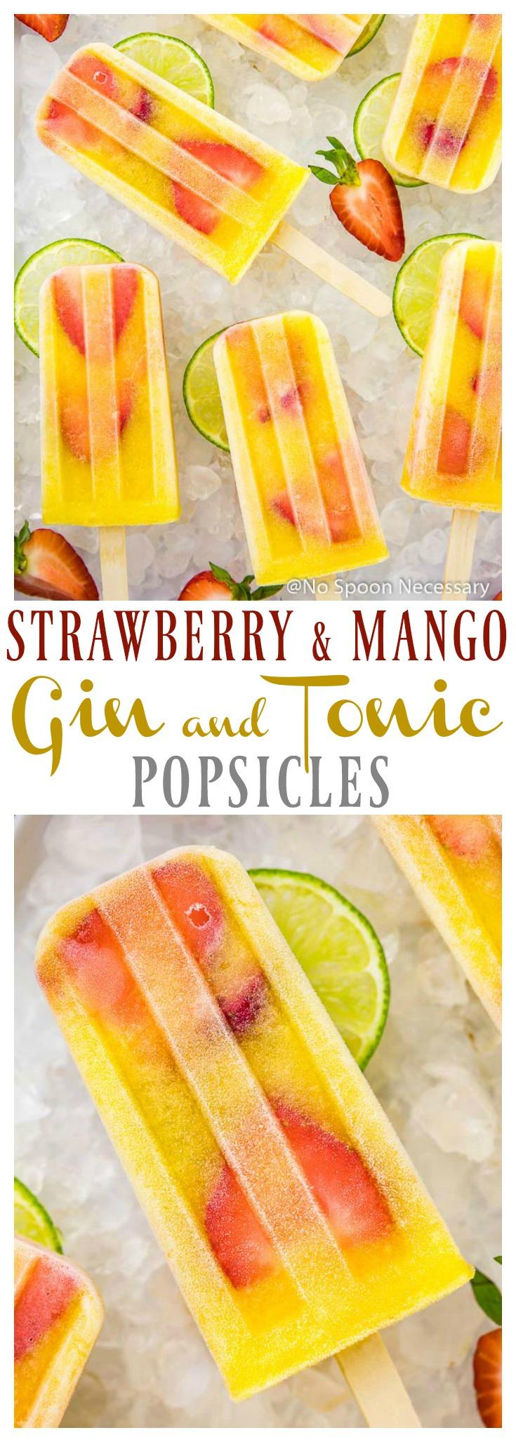 Strawberry & Mango Gina and Tonic Popsicles