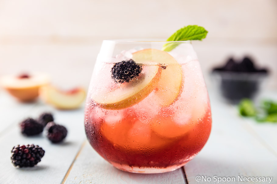 Blackberry Peach Elderflower Cocktail