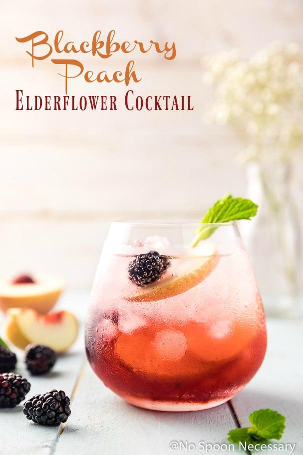 Blackberry Peach Elderflower Cocktail