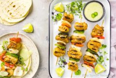 Margarita Fajita Chicken Kebabs {with pineapple aioli}