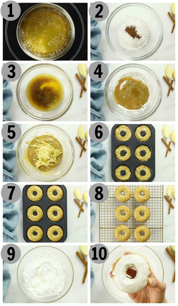 Overhead photo collage of how to make baked apple cider donuts step by step.