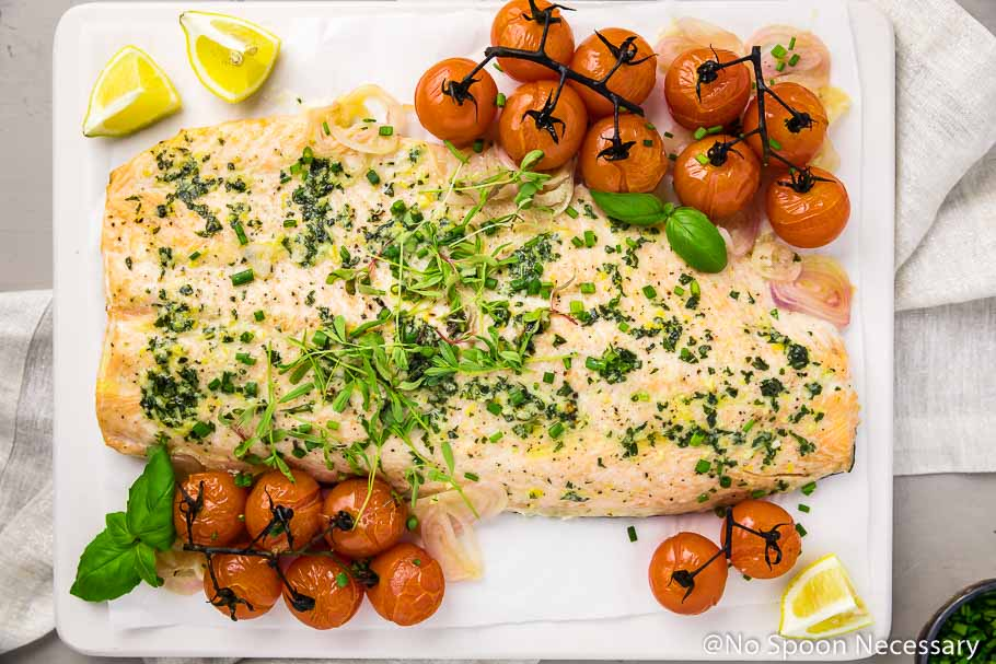 Basil Butter Roasted Salmon with Burst Tomatoes