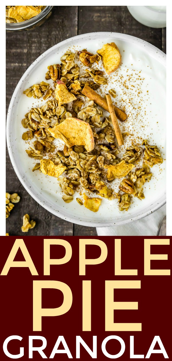 Cinnamon Apple Pie Granola  [with recipe video] | This Cinnamon Apple Pie Granola has ginormous crispy clusters with notes of warm cinnamon, hints of spectacular apple pie spice and a sprinkling of dried apple chips. It's fabulously fall flavored and perfect for breakfast, dessert and every snack in between! #apple #pie #vegetarian #granola #easy #recipe