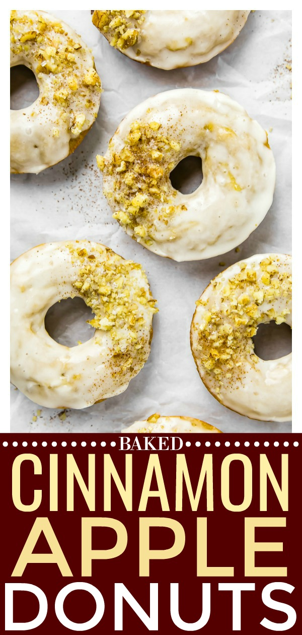 Glazed Cinnamon Apple Cider Baked Donuts with Crushed Walnuts | These Glazed Cinnamon Apple Cider Baked Donuts are bursting with crisp apple flavor and packed with cozy fall vibes!  Easy to make and even easier to devour, these donuts are the perfect fall morning treat, afternoon snack or evening dessert! #apple #cinnamon #baked #donuts #vegetarian #recipe