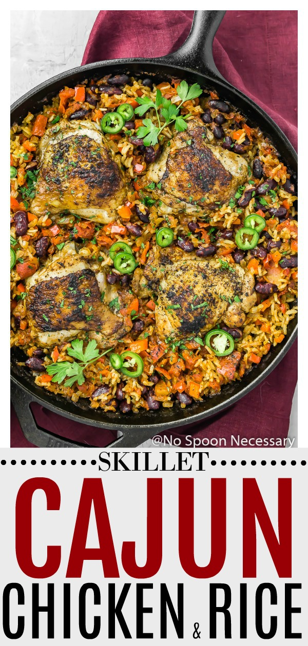 Skillet Cajun Chicken & Rice | Crispy chicken thighs nestled in smoky, Cajun spiced rice studded with red beans, red bell peppers and tomatoes. This meal is made in ONE skillet with only 8 ingredients. Easy, breezy and packed with flavor, this Cajun Chicken is weeknight dinner winning! #Cajun #chicken #beans #rice #skillet #recipe