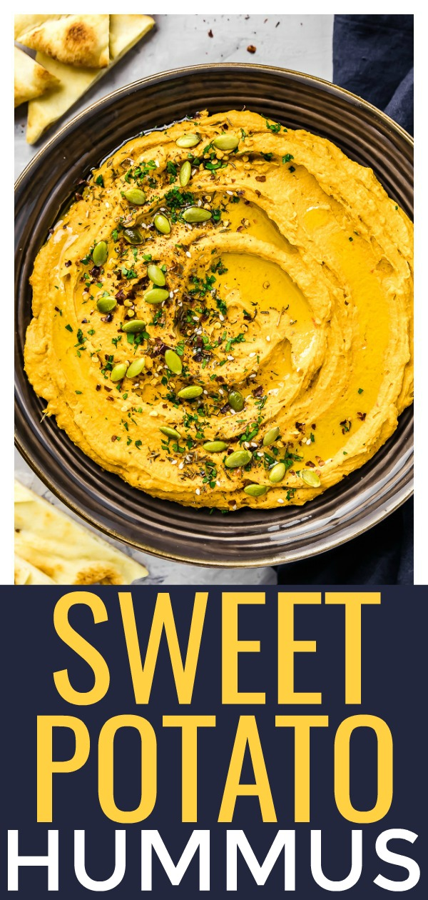 This Roasted Sweet Potato Harissa Hummus isjam packed with bold sweet & spicy flavors. It's ridiculously creamy and the perfect healthy snack or appetizer! #Harissa #sweetpotato #hummus #healthy #snack #recipe