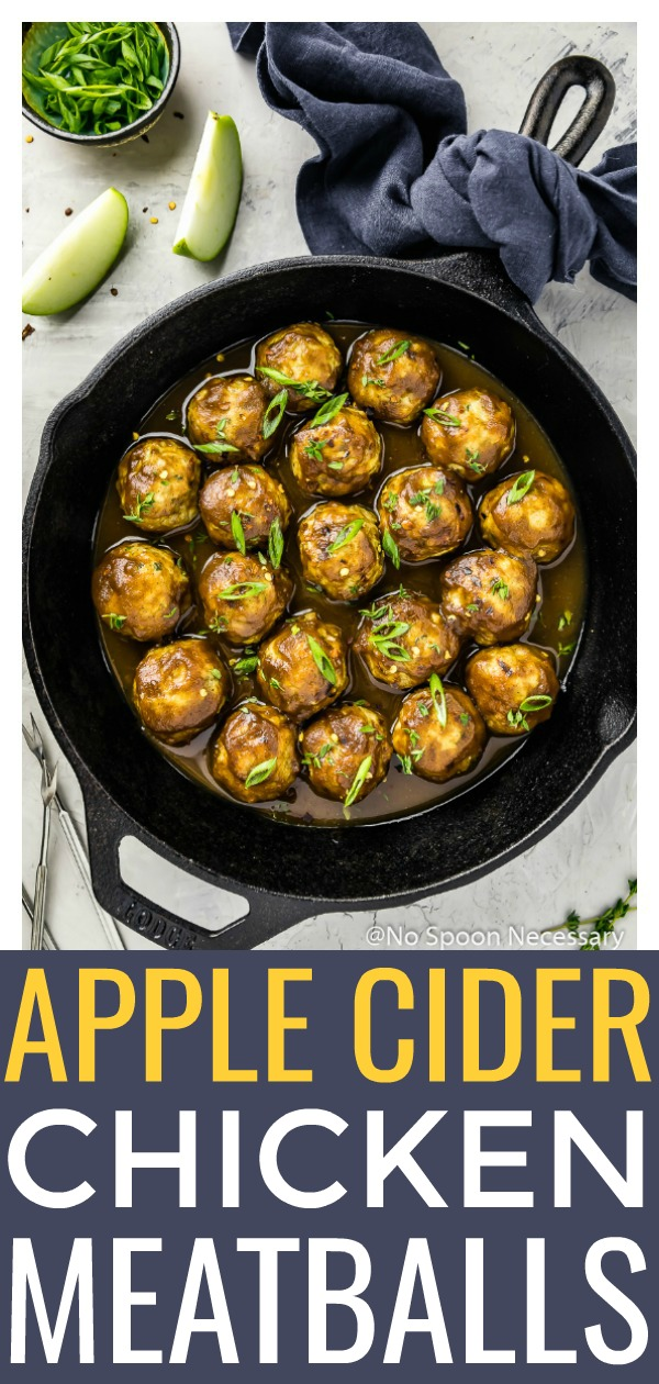 Baked Spiced Hard Apple Cider Glazed Meatballs | These Baked Chicken AppleMeatballs are tender, succulent and bursting with sweet and savory flavor. Baked for ease and convenience, then coated in a rich, silky smooth hard apple cider glaze, these meatballs are perfect for all occasions! #baked #apple #cider #chicken #meatballs #recipe