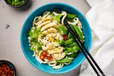 Ginger Miso Poached Chicken with Udon Noodles