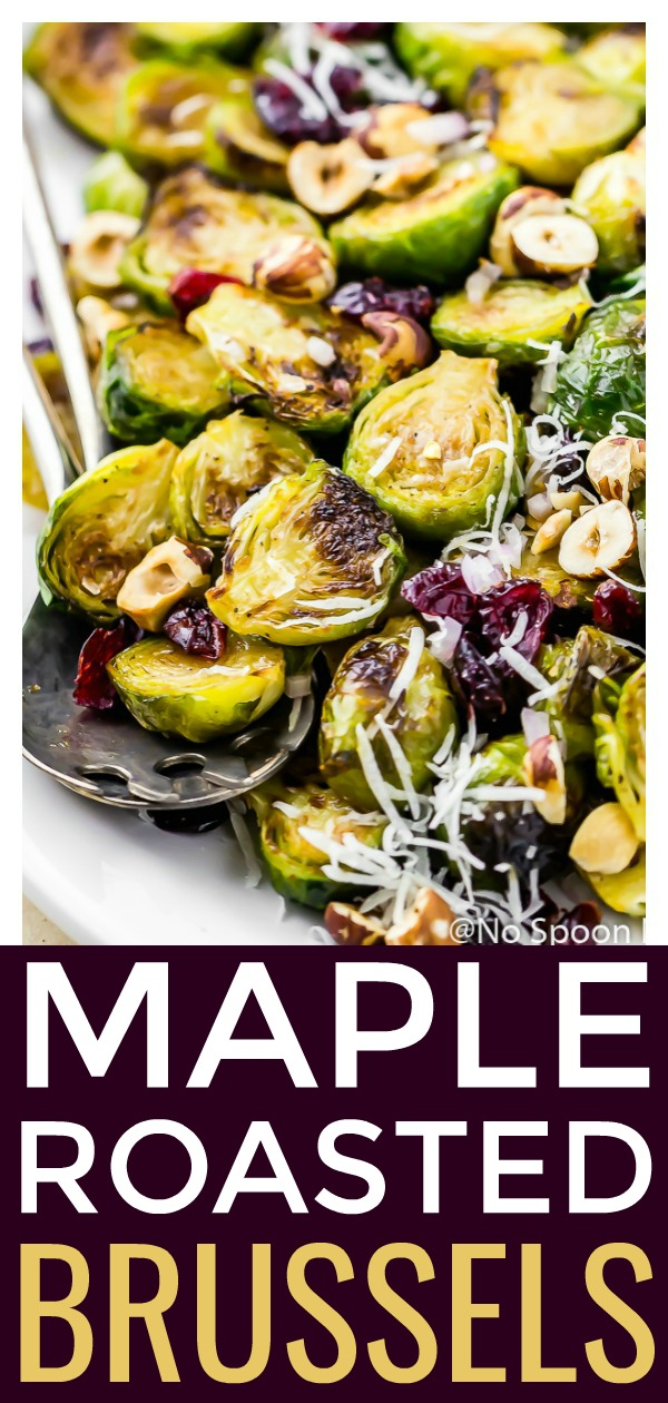 Maple Roasted Brussels Sprouts Salad [with recipe video]   This amazingly simple side dish is perfect for both holidays and easy weeknight dinners!  #easy #side #recipe #maple #roasted #brussels #sprouts #cranberries #hazelnuts #vegetarian