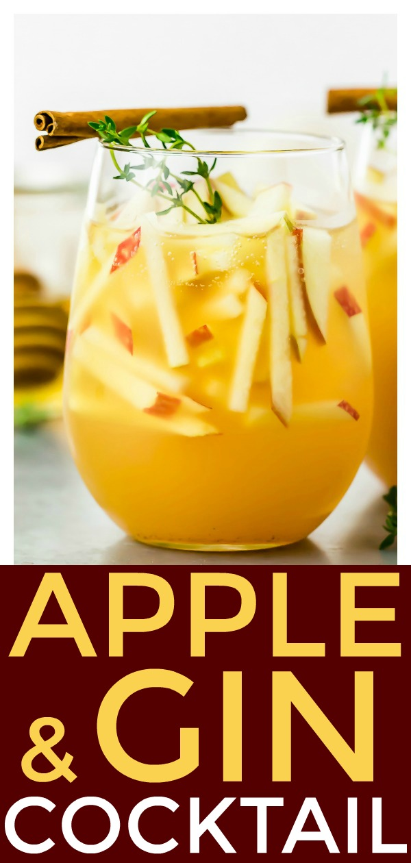 Apple & Gin Autumn Cocktail [with recipe video] | Tart, slightly sweet and smooth with a fruity apple forward taste, this Cocktail is filled to the brim with cozy, warm fall flavors. It's perfect for all your fall gatherings and Thanksgiving! #autumn #Thanksgiving #apple #gin #cocktail #recipe