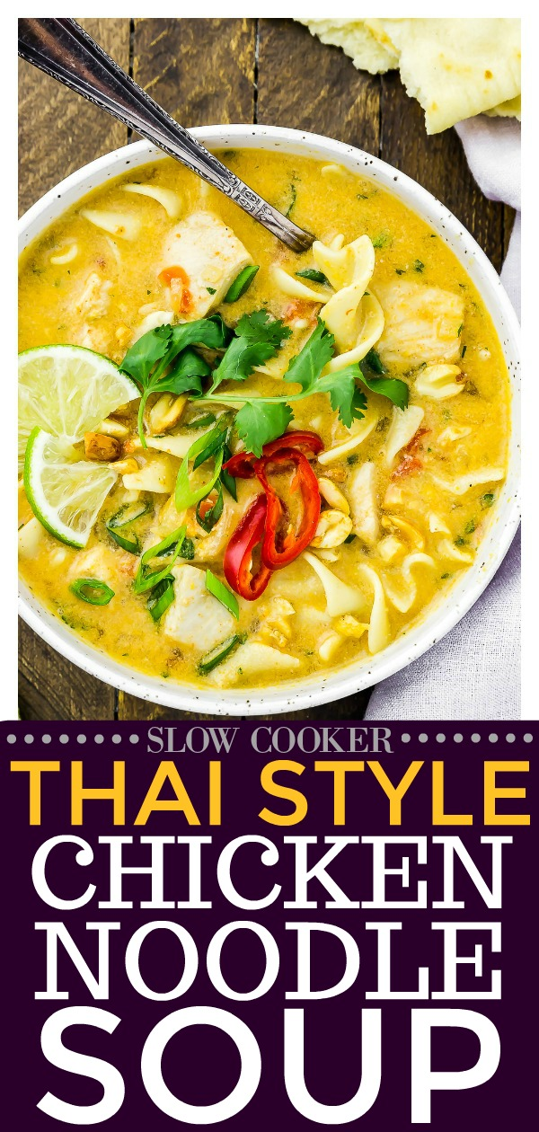 Quick & Easy Slow Cooker Thai Chicken Noodle Soup + recipe video | Classic chicken noodle soup meets Thai chicken curry in this Thai Chicken Noodle Soup. Packed with flavor and made with the convenience of the slow cooker, this sweet and savory soup is good for the soul!  #slowcooker #crockpot #thai #chicken #noodle #soup #easy #healthy #recipe