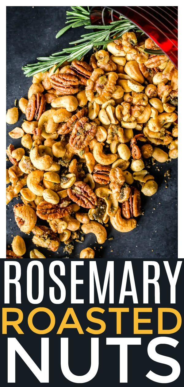 Quick & Easy Rosemary Roasted Mixed Nuts [with recipe video]   These nuts are the perfect combination of savory, salty, spicy and sweet! You can use any combination of nuts for this recipe! They make a great, quick and easy appetizer or snack, and are always a hit at a party!  #vegetarian #snack #appetizer #recipe #rosemary #roasted #nuts
