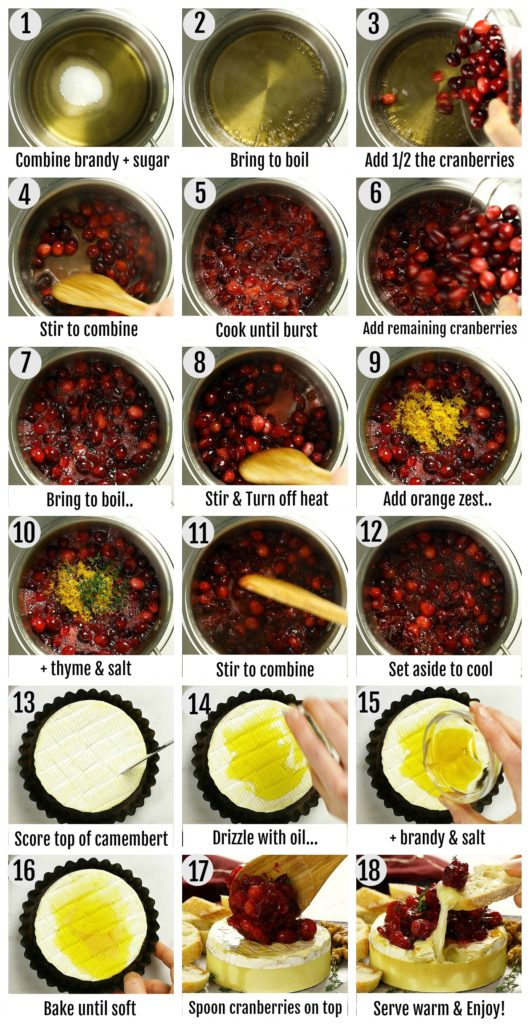 Overhead photo collage of how to bake camembert step by step with written instructions on each step.