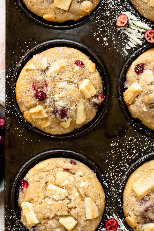 Overhead, close-up photo of Cranberry Muffins dusted with powdered sugar in a muffin pan.