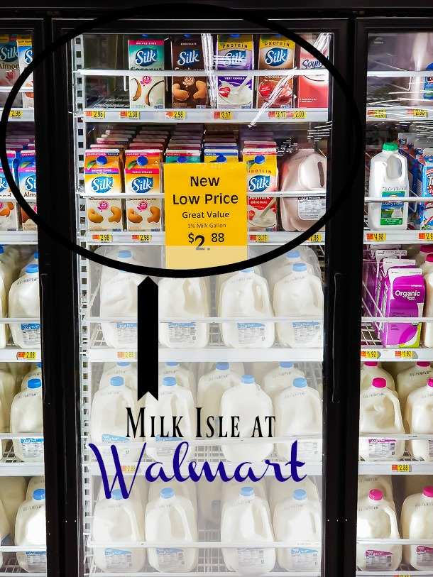 Walmart in store photo of where Silk Almond can be located.